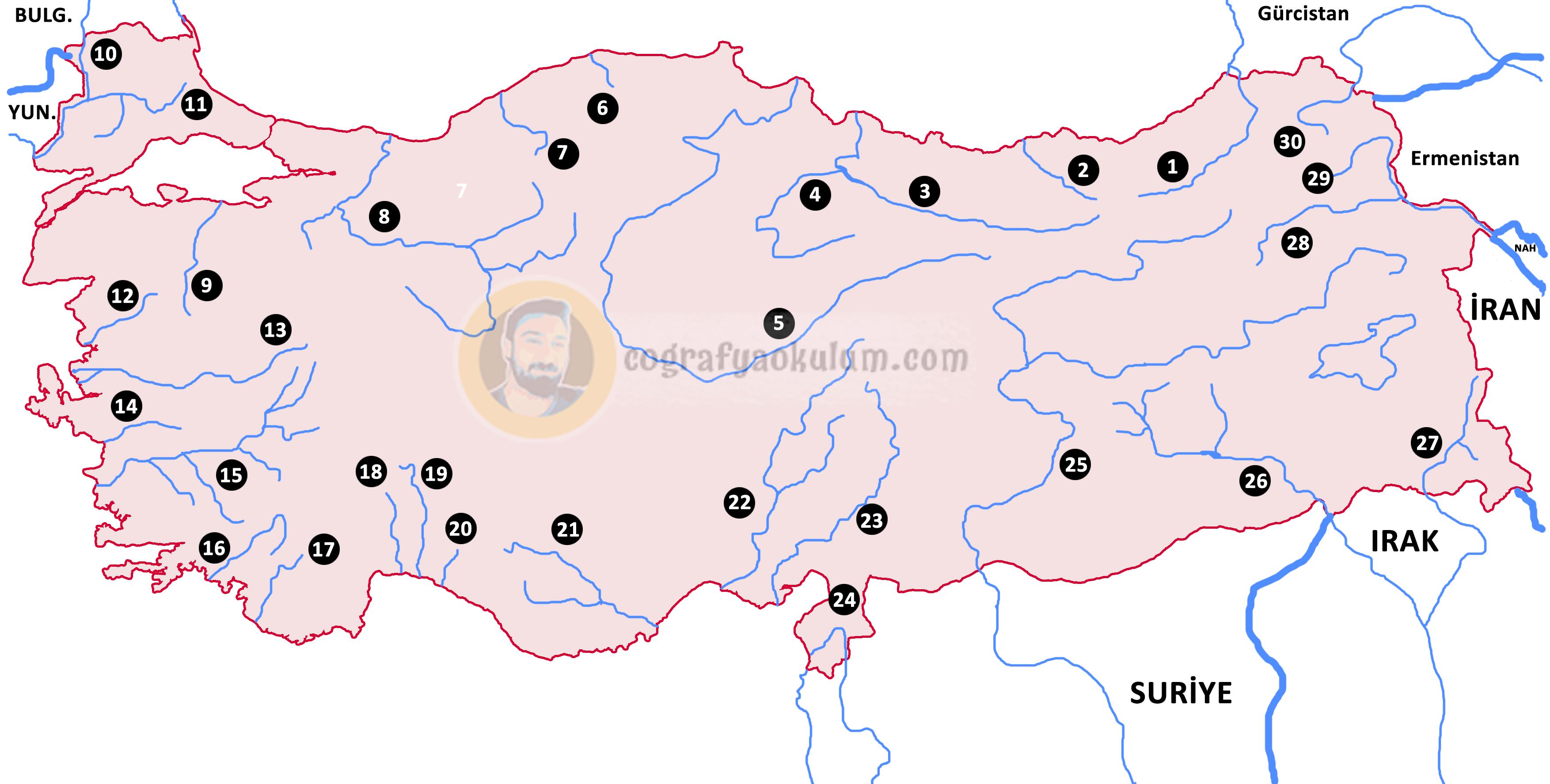 Türkiye'deki Akarsular ve Yerleri