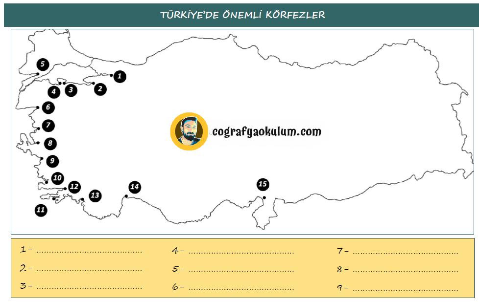 Türkiye'nin Önemli Körfezleri Haritası