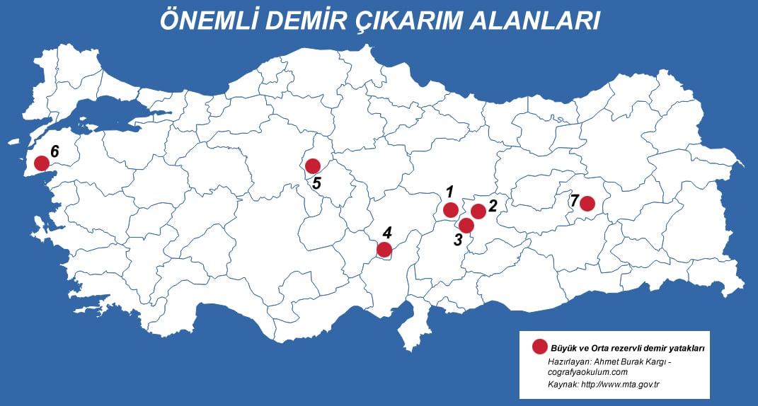 Türkiye'de Demir Çıkarılan Yerler ve Demir Çelik Fabrikaları 1