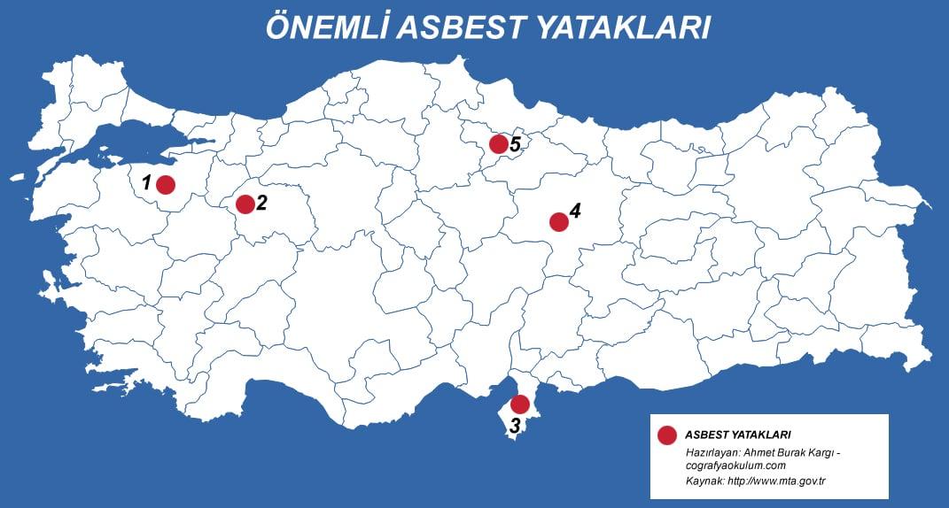 Türkiye'de Amyant (Asbest) Çıkarılan Yerler 1