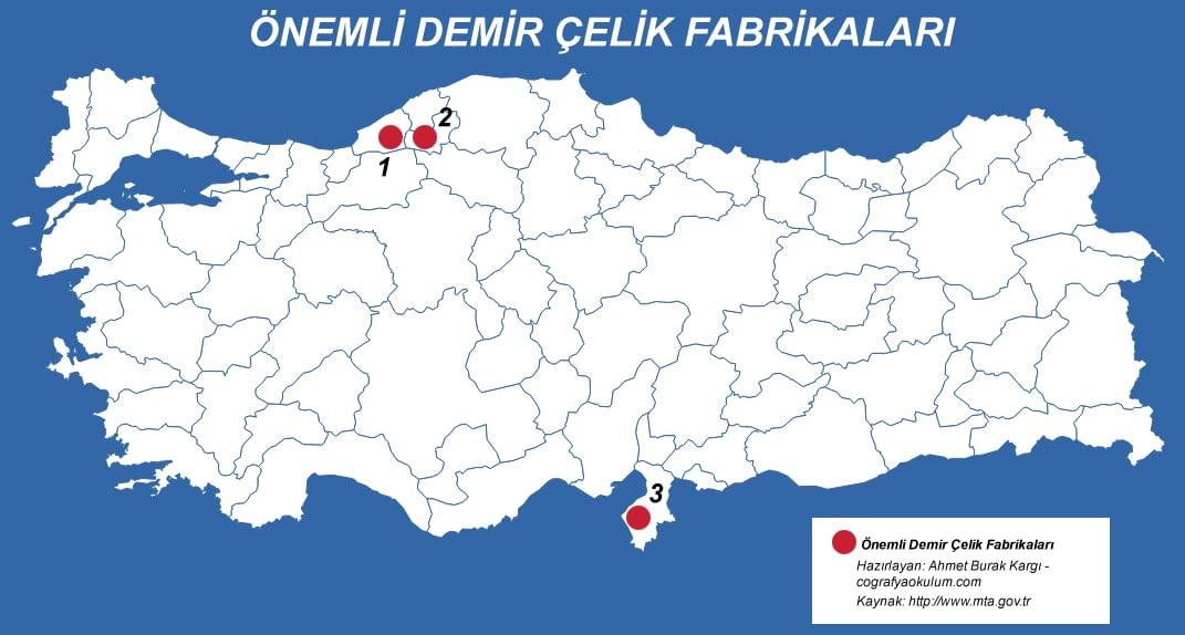 Türkiye'de Demir Çıkarılan Yerler ve Demir Çelik Fabrikaları 2