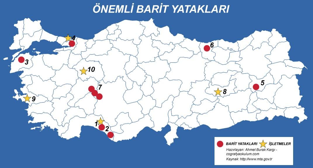 Türkiye'de Barit Çıkarılan ve İşlenen Yerler 1