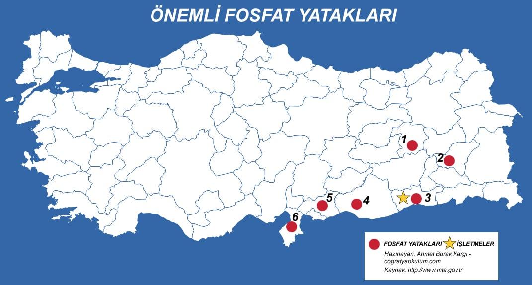 Türkiye'de Fosfat Çıkarılan ve İşlenen Yerler 1